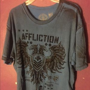 Blue Men's Affliction XXL 2XL Shirt